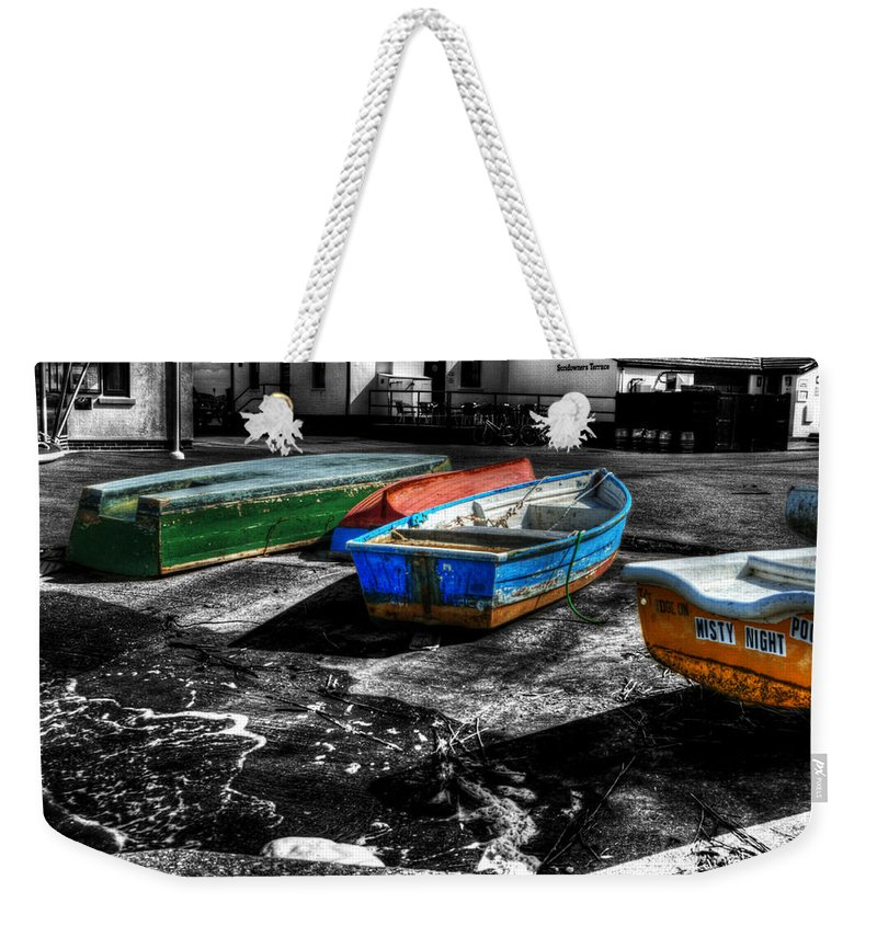 Rowing Weekender Tote Bag featuring the photograph Row Boats At Mudeford by Chris Day