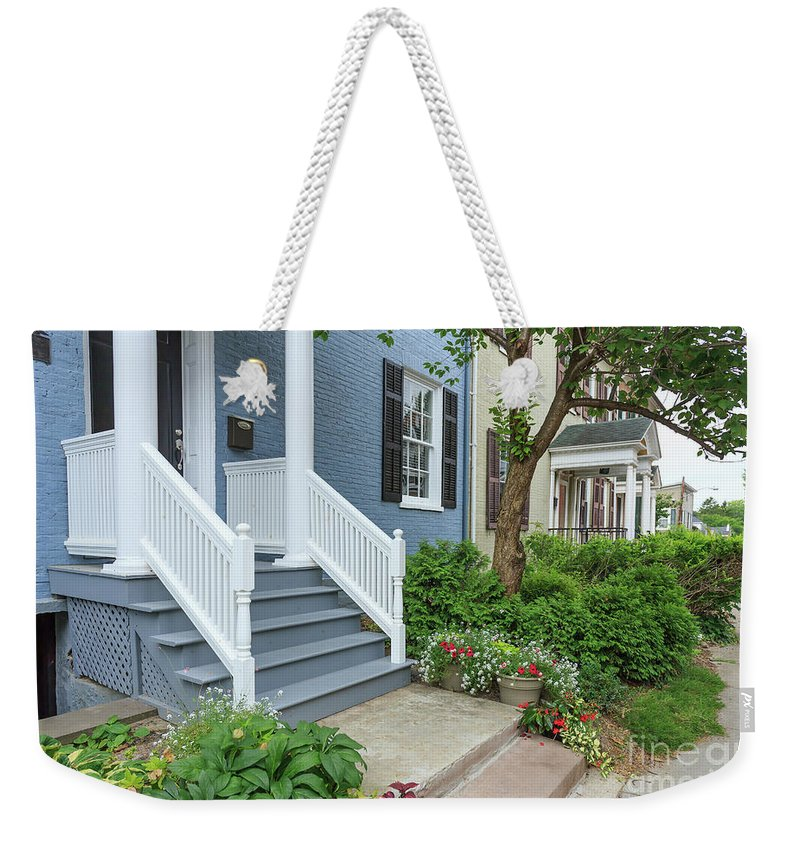 Finger Lakes Weekender Tote Bag featuring the photograph Row Of Historic Row Houses by Edward Fielding