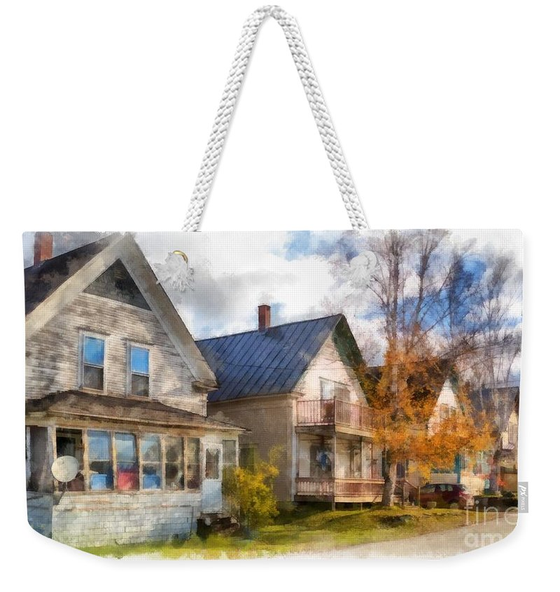 Hardwick; House; Home; Street; Town; Rural; City; Row; Homes; Houses; Decay; Old; Period; Traditional; New England; Stowe; Vermont; Country; Fall; Farm; Harvest; Rural Weekender Tote Bag featuring the photograph Row Of Houses Hardwick Vermont Watercolor by Edward Fielding