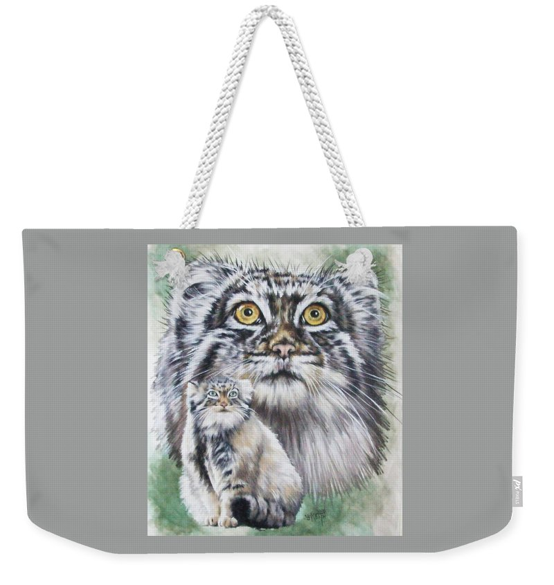 Pallas' Cat Weekender Tote Bag featuring the mixed media Rowdy by Barbara Keith