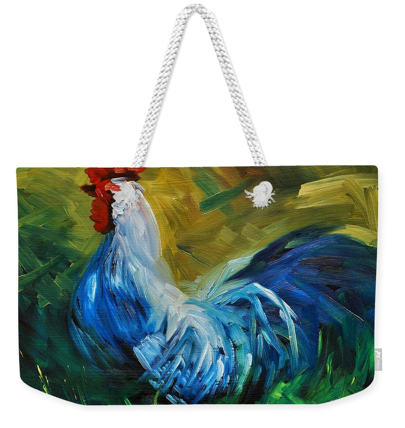 Rooster Weekender Tote Bag featuring the painting Rowdy Rooster by Diane Whitehead