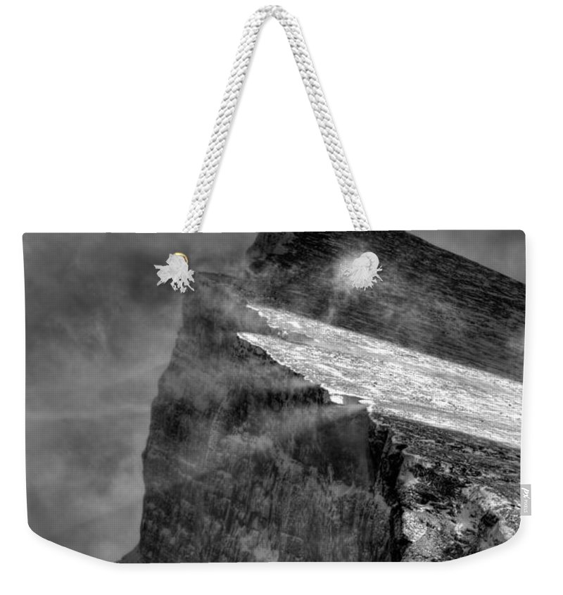 Black And White Weekender Tote Bag featuring the photograph Rowdy Rundle by James Anderson