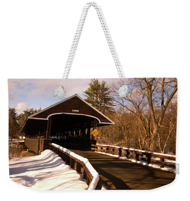 new England Covered Bridges Weekender Tote Bag featuring the photograph Rowell Bridge by Paul Mangold