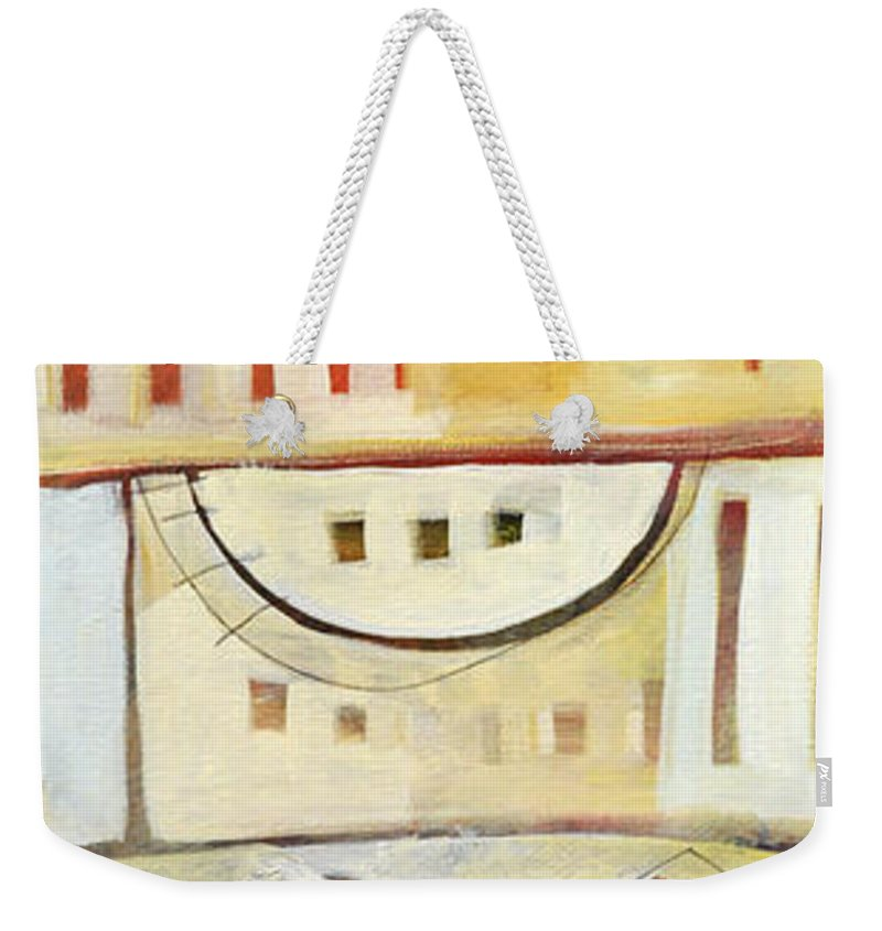 House Weekender Tote Bag featuring the painting Rowhouse No. 1 by Tim Nyberg