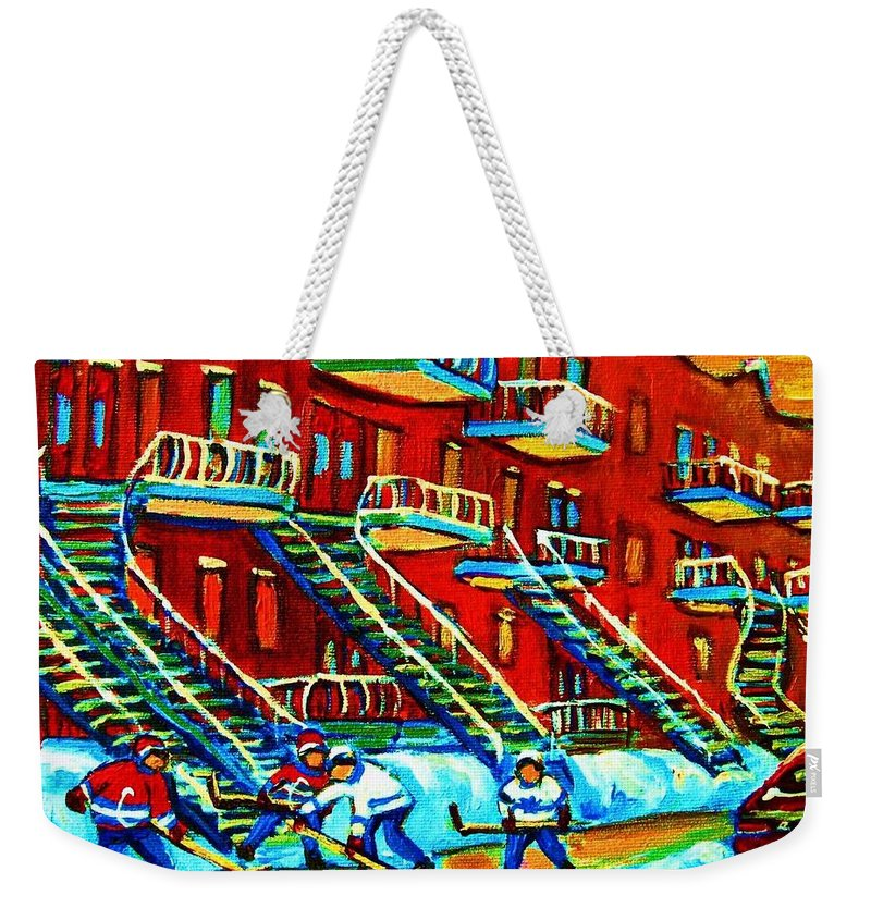 Hockey Weekender Tote Bag featuring the painting Rowhouses And Hockey by Carole Spandau