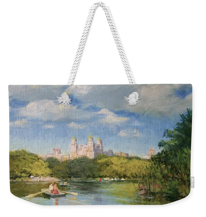 Urban Landscape Paintings Weekender Tote Bag featuring the painting Rowing On The Lake, Central Park by Peter Salwen