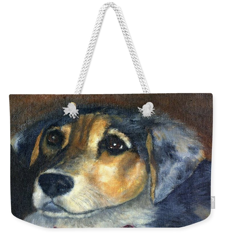 Dog Weekender Tote Bag featuring the painting Roxie by Gail Kirtz