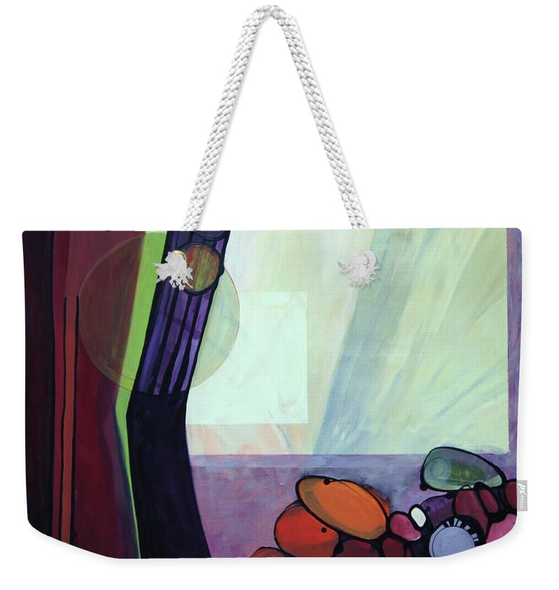 Abstract Weekender Tote Bag featuring the painting Roxie by Marlene Burns