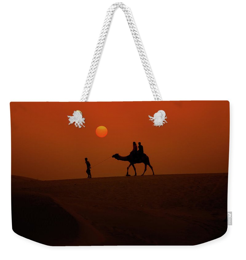 Rajasthan Desert Camel Sand Dunes Evening Time Camel Safari Artphotography Weekender Tote Bag featuring the photograph Royal Desert by Madan Suthar