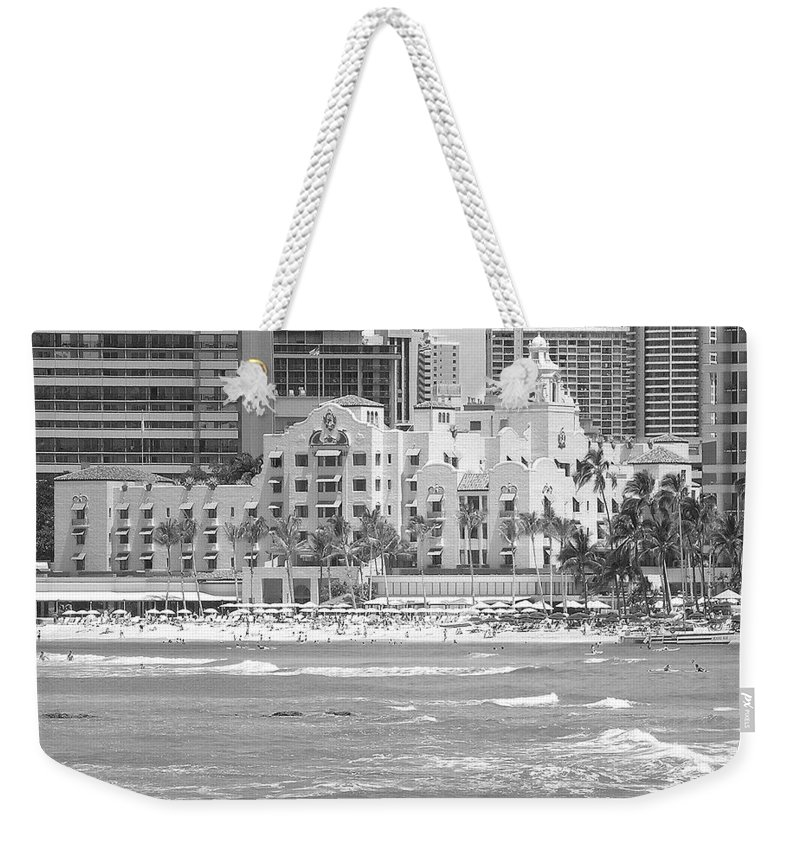 Black And White Weekender Tote Bag featuring the photograph Royal Hawaiian Hotel - Waikiki by Mary Deal