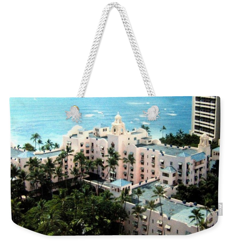 1986 Weekender Tote Bag featuring the photograph Royal Hawaiian Hotel by Will Borden
