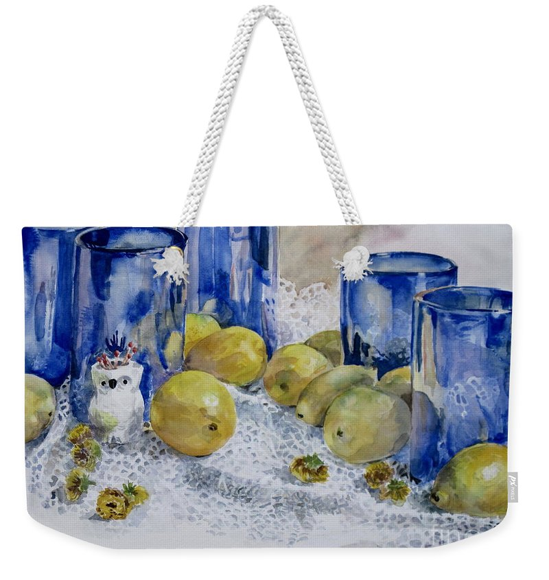 Glass Weekender Tote Bag featuring the painting Royal Lemons by Karen Boudreaux