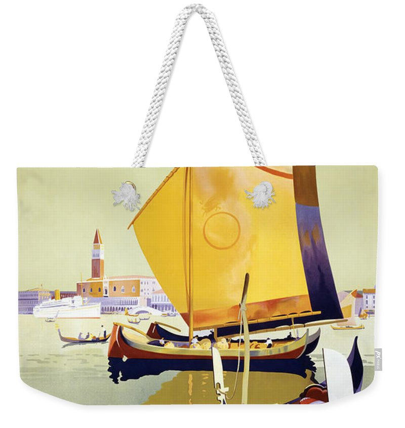 Royal Mail Weekender Tote Bag featuring the photograph Royal Mail Atlantis Autumn Cruises Vintage Travel Poster by R Muirhead Art
