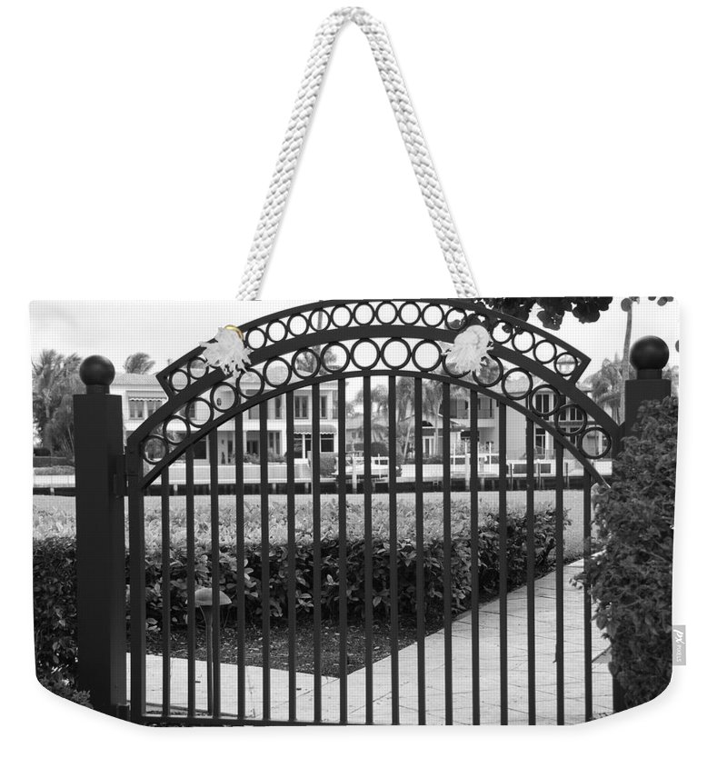 Gate Weekender Tote Bag featuring the photograph Royal Palm Gate by Rob Hans