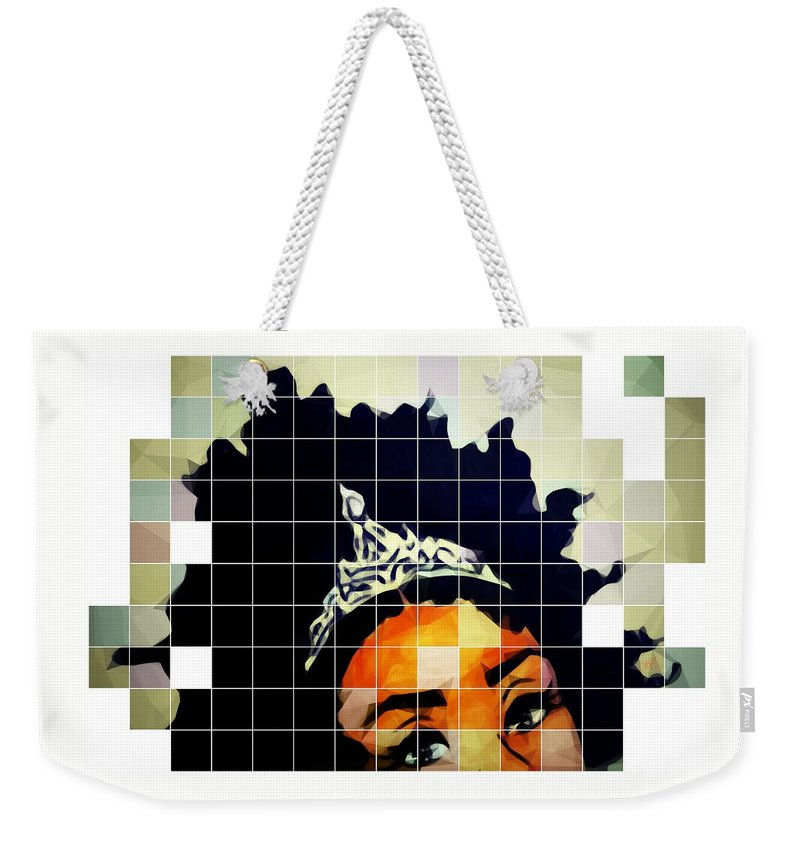 Afro Black African American Curls Kinky Crown Princess Royalty Roots Tiara Weekender Tote Bag featuring the mixed media Royal Roots by April Cooper