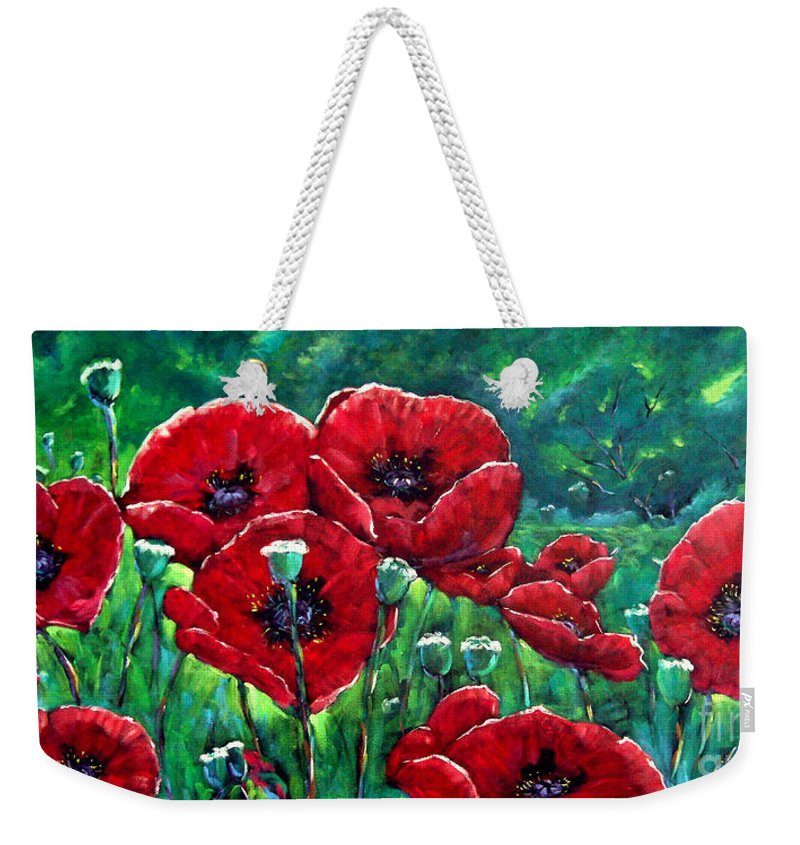 Forest Weekender Tote Bag featuring the painting Rubies In The Emerald Forest by Richard T Pranke
