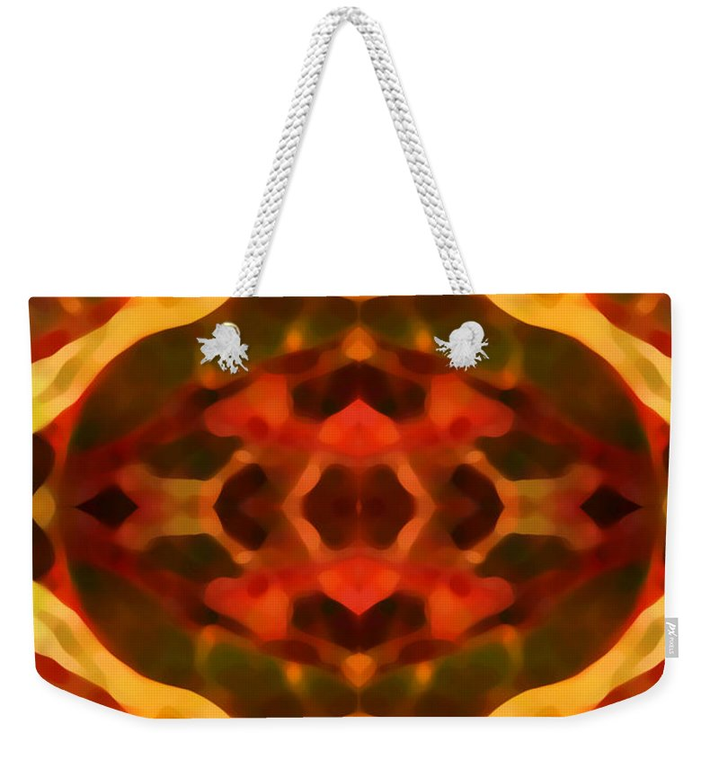 Abstract Painting Weekender Tote Bag featuring the digital art Ruby Crystal Pattern by Amy Vangsgard