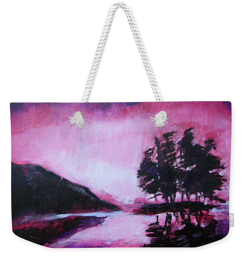 Ruby Dawn Weekender Tote Bag featuring the painting Ruby Dawn by Seth Weaver