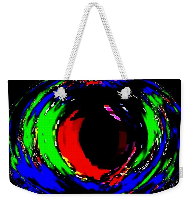 Abstract Weekender Tote Bag featuring the digital art Ruby Eye by Will Borden