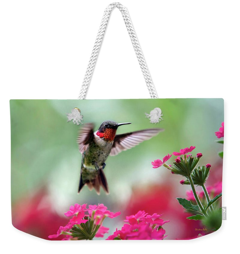 Hummingbird Weekender Tote Bag featuring the photograph Ruby Garden Jewel by Christina Rollo