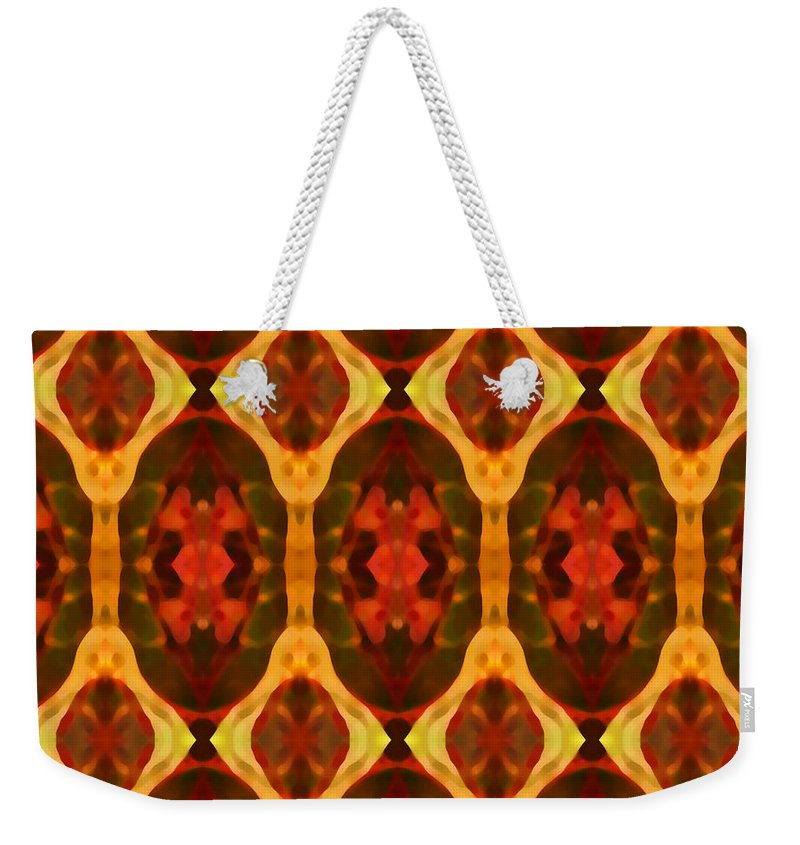 Abstract Weekender Tote Bag featuring the painting Ruby Glow Pattern by Amy Vangsgard