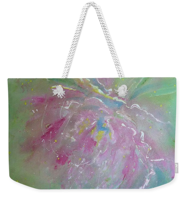 Peony Weekender Tote Bag featuring the painting Ruby Red Peony by Ruth Kamenev