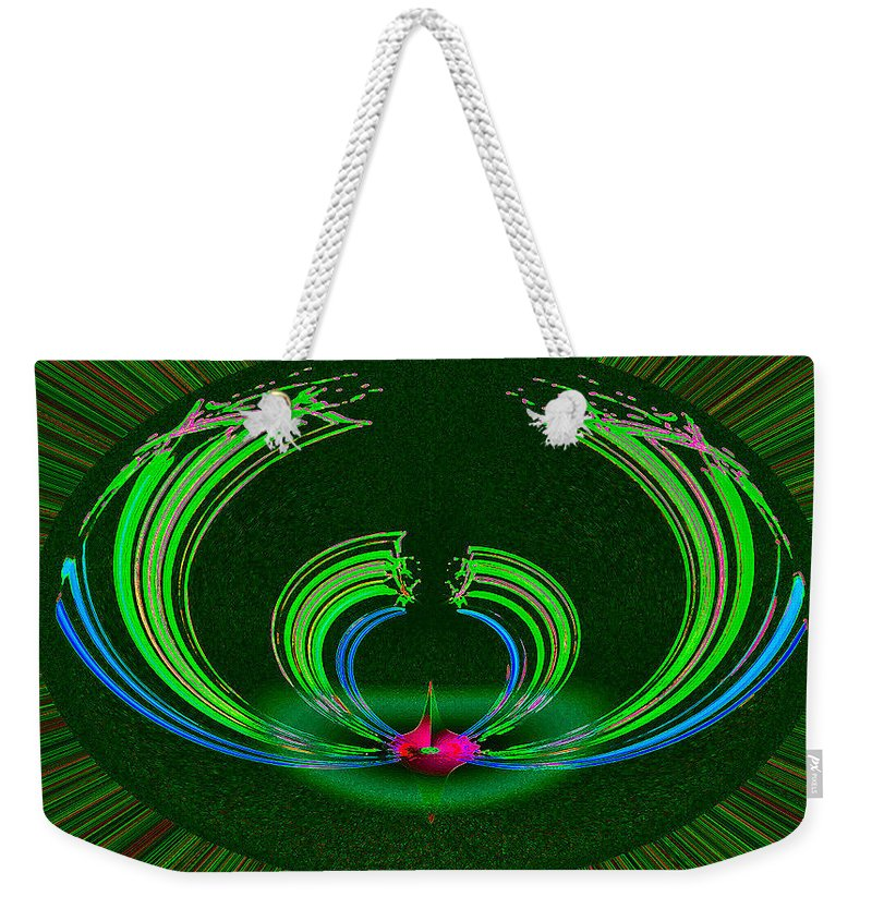 Ruby Weekender Tote Bag featuring the digital art Ruby Singularity In Emerald Sapphire Nest by Don Quackenbush