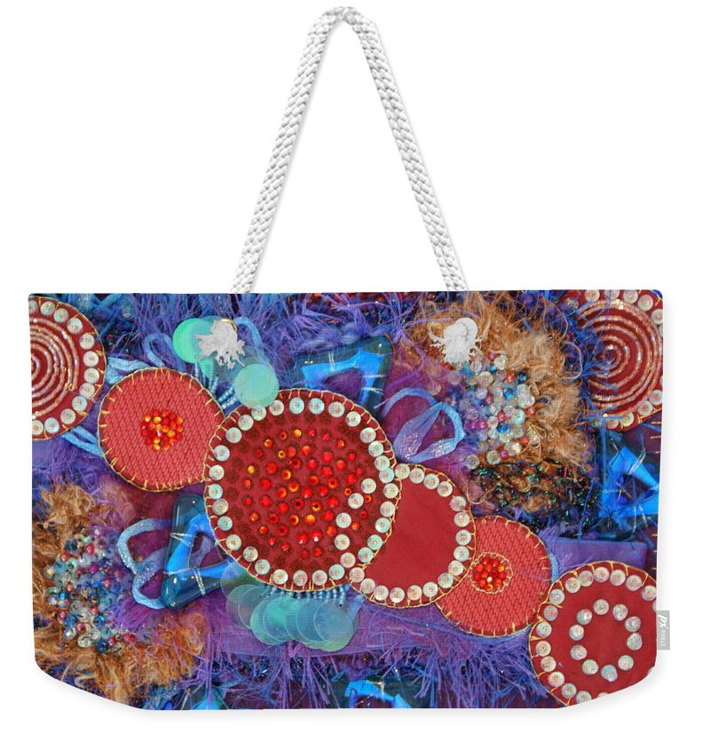 Weekender Tote Bag featuring the mixed media Ruby Slippers 1 by Judy Henninger