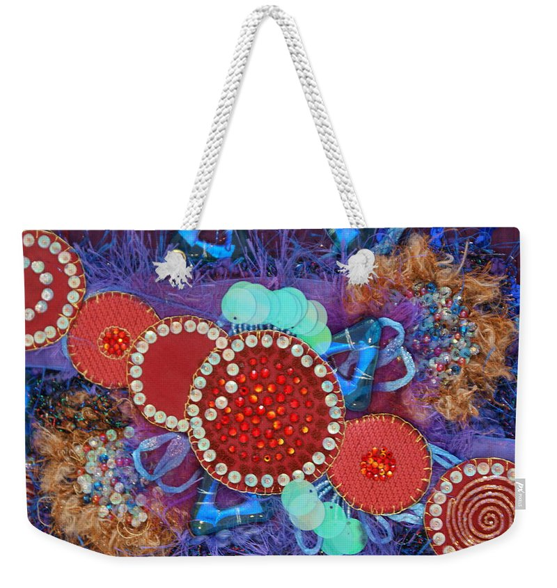 Weekender Tote Bag featuring the mixed media Ruby Slippers 2 by Judy Henninger