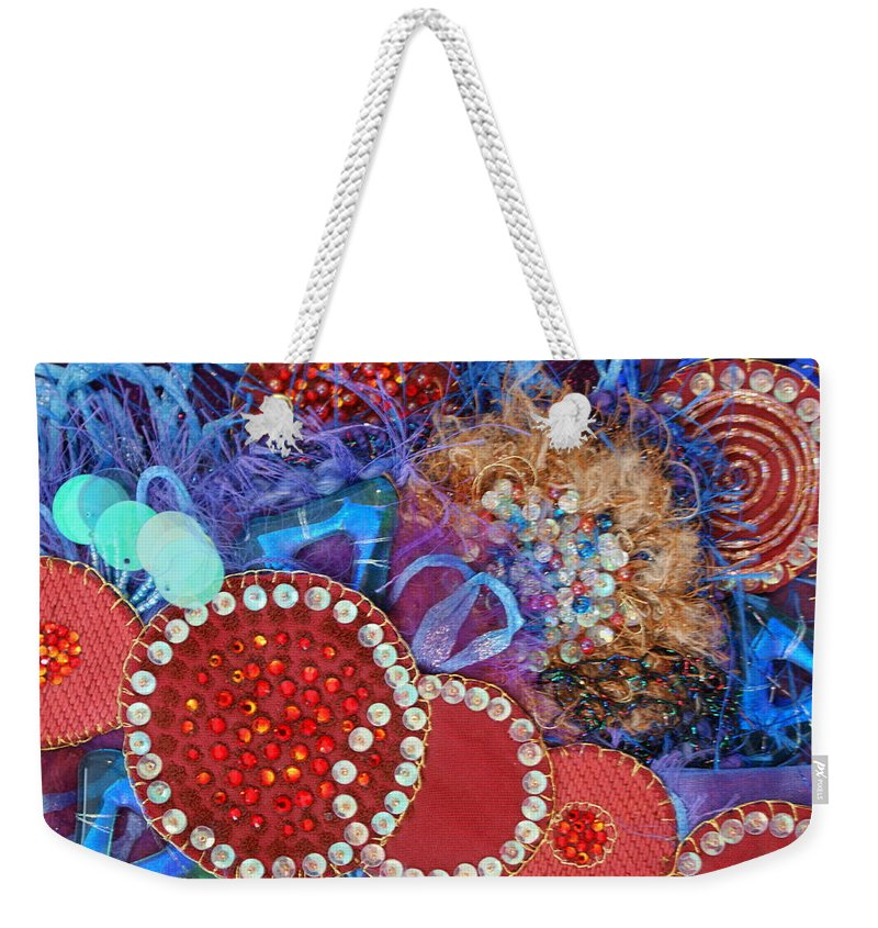 Weekender Tote Bag featuring the mixed media Ruby Slippers 3 by Judy Henninger