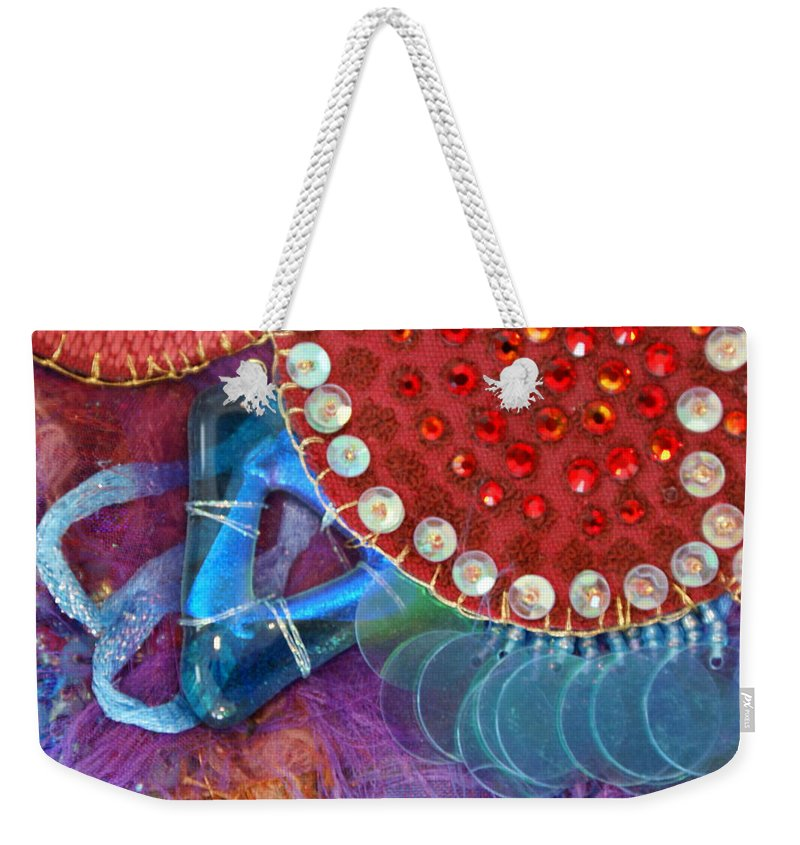 Weekender Tote Bag featuring the mixed media Ruby Slippers 4 by Judy Henninger