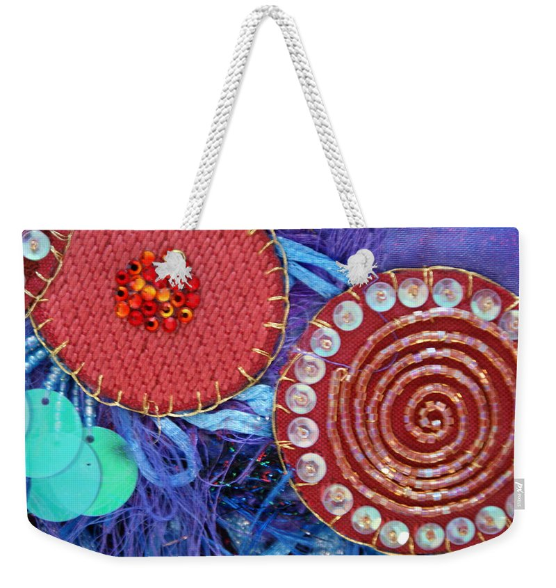 Weekender Tote Bag featuring the mixed media Ruby Slippers 5 by Judy Henninger