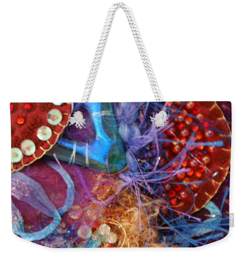 Weekender Tote Bag featuring the mixed media Ruby Slippers 6 by Judy Henninger