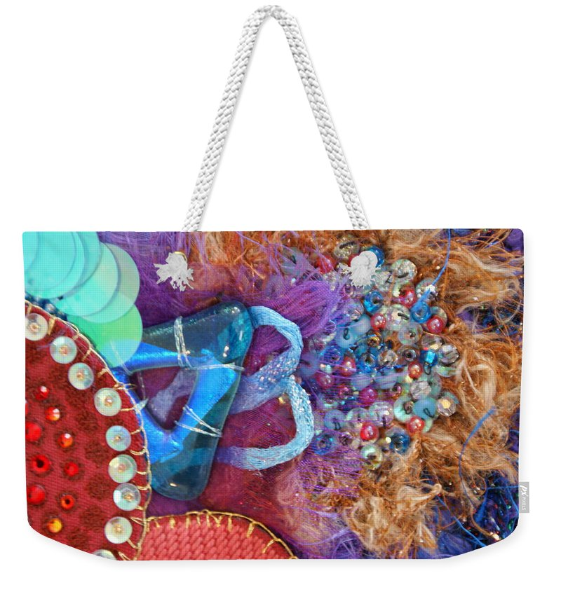 Weekender Tote Bag featuring the mixed media Ruby Slippers 8 by Judy Henninger