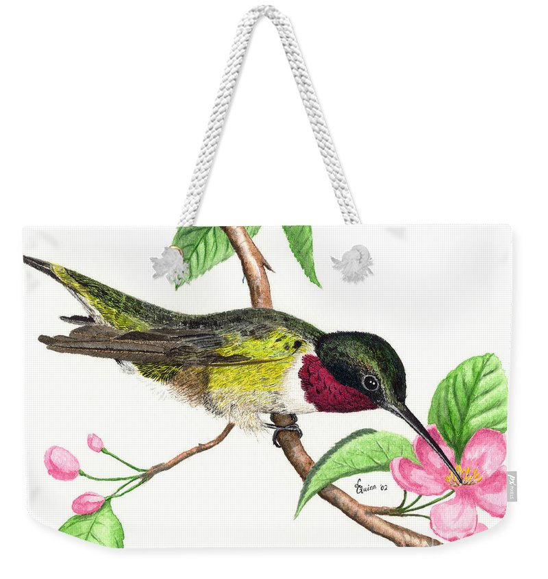 Hummingbird Weekender Tote Bag featuring the painting Ruby-throated Hummingbird by Lynn Quinn