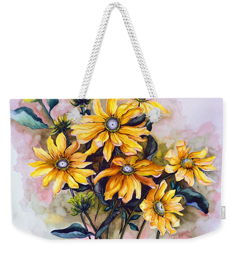 Flower Painting Sun Flower Painting Flower Botanical Painting  Original Watercolor Painting Rudebeckia Painting Floral Painting Yellow Painting Greeting Card Painting Weekender Tote Bag featuring the painting RUDBECKIA Prairie Sun by Karin Dawn Kelshall- Best