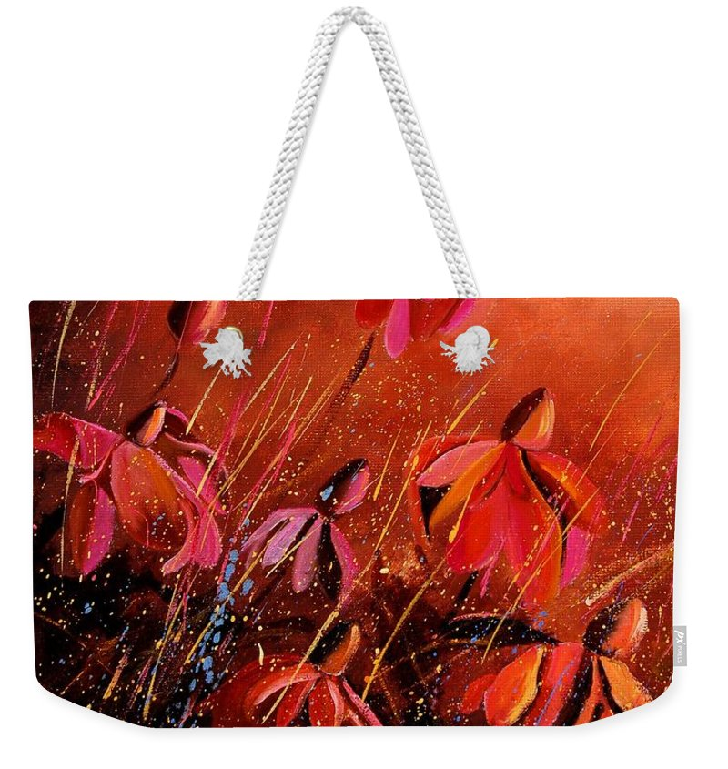 Poppies Weekender Tote Bag featuring the painting Rudbeckia's 45 by Pol Ledent