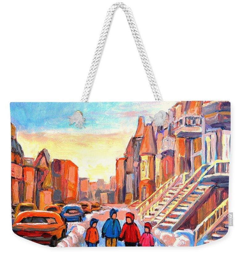 Rue Hotel De Ville Montreal Weekender Tote Bag featuring the painting Rue Hotel De Ville Montreal by Carole Spandau