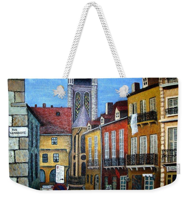 Street Scene Weekender Tote Bag featuring the painting Rue Lamonnoye In Dijon France by Nancy Mueller