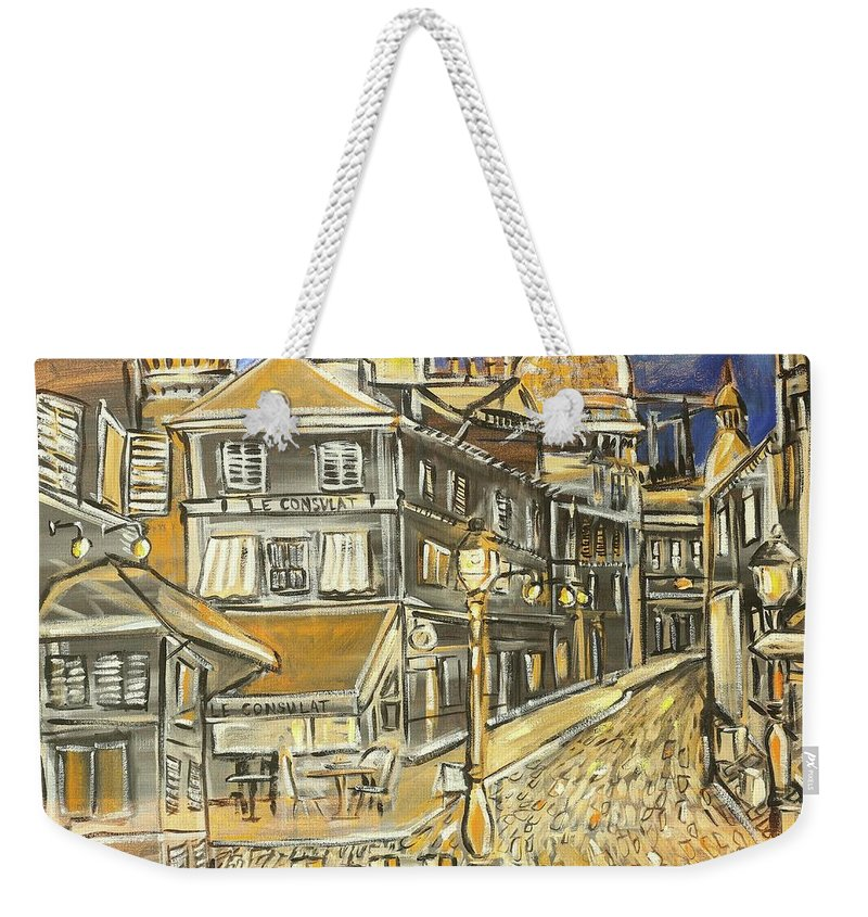 City Weekender Tote Bag featuring the painting Rue Lepic by Arrin Burgand