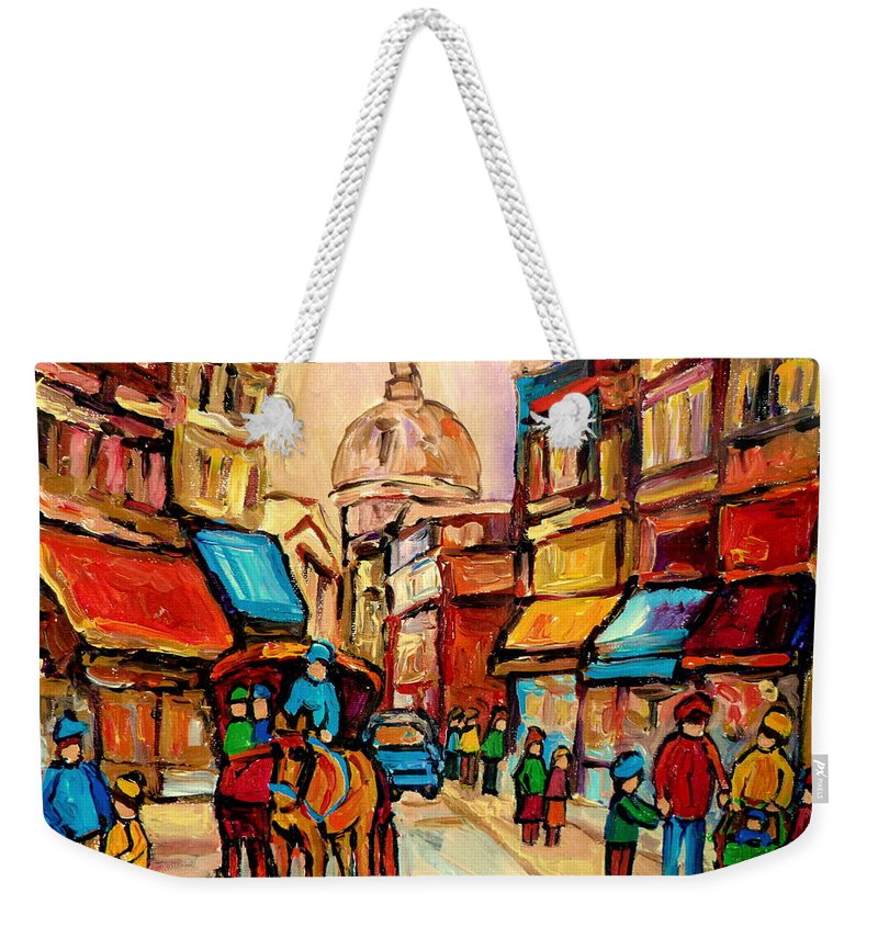 Montreal Streets Weekender Tote Bag featuring the painting Rue St Jacques Old Montreal Streets by Carole Spandau