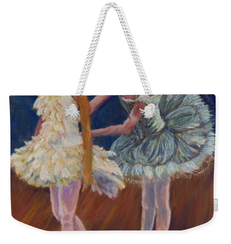 Ballerina Weekender Tote Bag featuring the painting Ruffled Feathers by Sharon E Allen