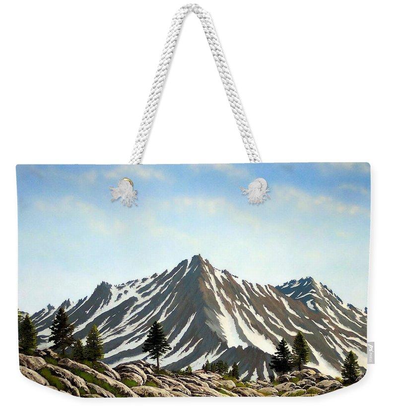 Mountians Weekender Tote Bag featuring the painting Rugged Peaks by Frank Wilson