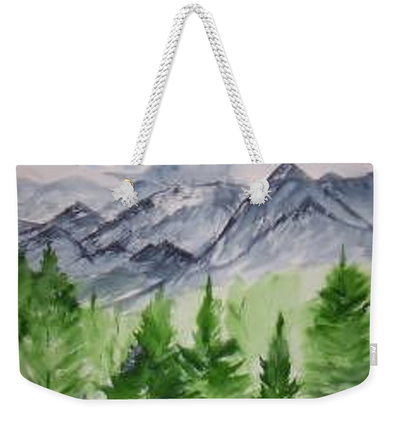 Plein Air Weekender Tote Bag featuring the painting Ruidoso Nm Southwestern Mountain Landscape Watercolor Painting Poster Print by Derek Mccrea