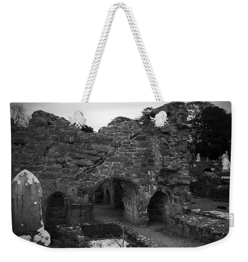 Irish Weekender Tote Bag featuring the photograph Ruins At Donegal Abbey Donegal Ireland by Teresa Mucha
