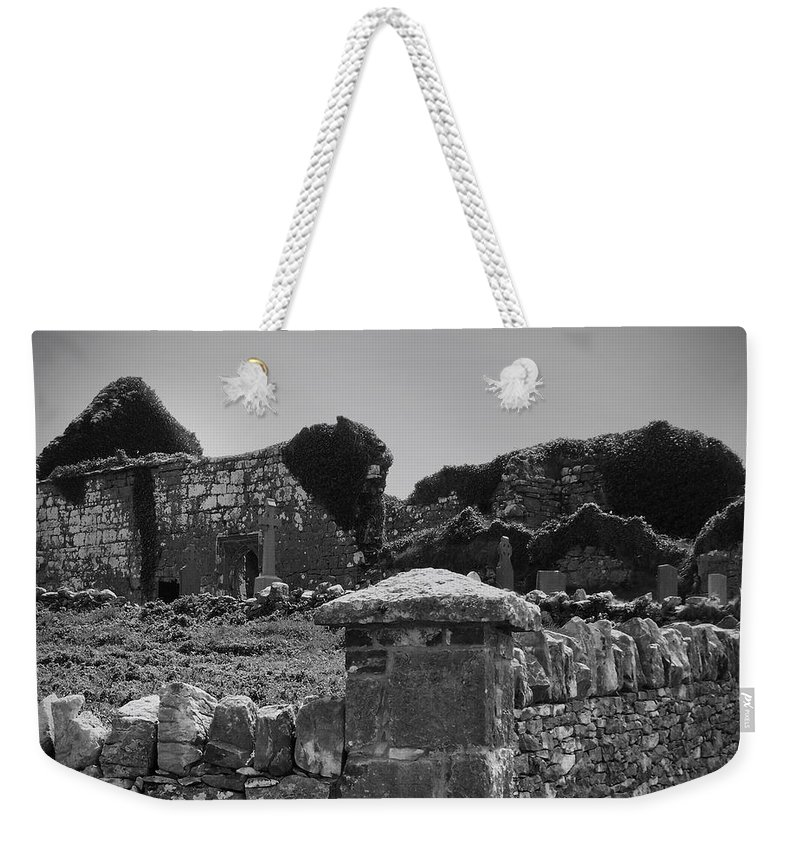 Irish Weekender Tote Bag featuring the photograph Ruins In The Burren County Clare Ireland by Teresa Mucha