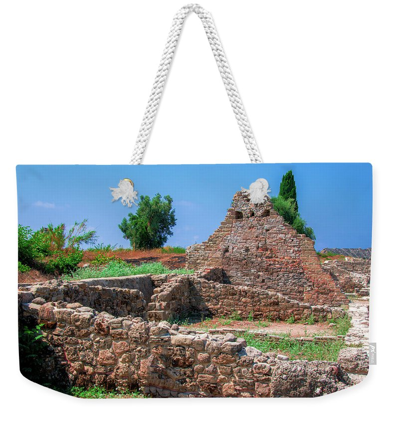 Turkish Riviera Weekender Tote Bag featuring the photograph Ruins Of The Ancient City Of Side by Sun Travels