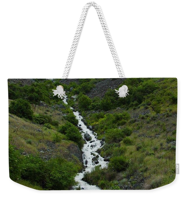 Spring Weekender Tote Bag featuring the photograph Run Off by Sara Stevenson