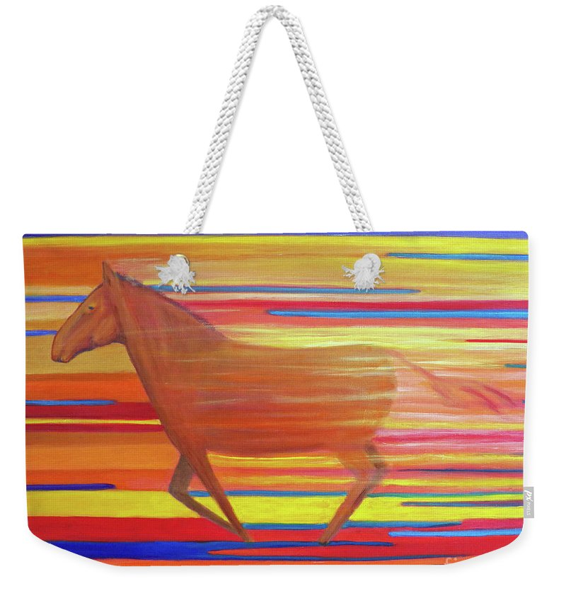 Horse Weekender Tote Bag featuring the painting Run With The Sun II by Brian Commerford