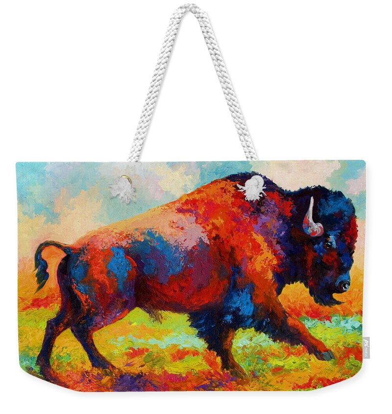 Bison Weekender Tote Bag featuring the painting Running Free by Marion Rose